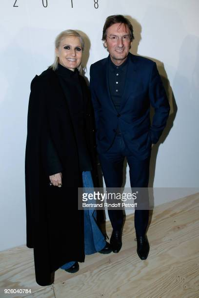 Stylist Maria Grazia Chiuri and CEO of Dior Pietro Beccari attend the LVMH Prize 2018 Designers Presentation on March 1 2018 in Paris France
