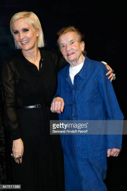Stylist Maria Grazia Chiuri and Claude Lalanne pose backstage after the Christian Dior show as part of the Paris Fashion Week Womenswear Fall/Winter...