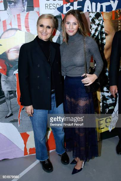 Stylist Maria Grazia Chiuri and Dylan Penn pose after the Christian Dior show as part of the Paris Fashion Week Womenswear Fall/Winter 2018/2019 on...