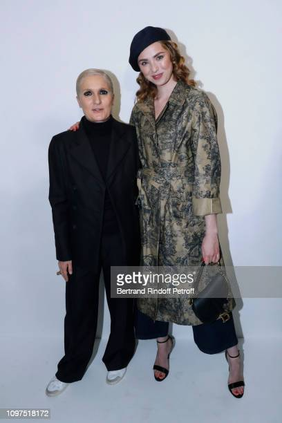 Stylist Maria Grazia Chiuri and Freya Mavor pose after the Christian Dior Haute Couture Spring Summer 2019 show as part of Paris Fashion Week on...