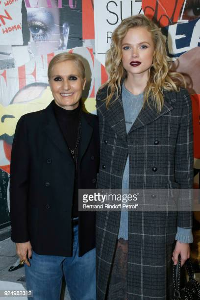 Stylist Maria Grazia Chiuri and Gabriella Wilde pose after the Christian Dior show as part of the Paris Fashion Week Womenswear Fall/Winter 2018/2019...