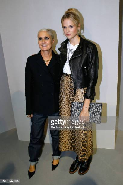 Stylist Maria Grazia Chiuri and Gabriella Wilde pose backstage after the Christian Dior show as part of the Paris Fashion Week Womenswear...