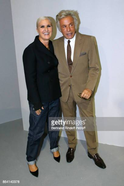Stylist Maria Grazia Chiuri and Giancarlo Giammetti pose backstage after the Christian Dior show as part of the Paris Fashion Week Womenswear...