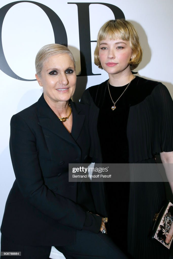 Stylist Maria Grazia Chiuri and Haley Bennett pose after the Christian Dior Haute Couture Spring Summer 2018 show as part of Paris Fashion Week on January 22, 2018 in Paris, France.