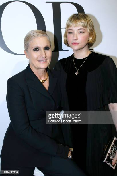 Stylist Maria Grazia Chiuri and Haley Bennett pose after the Christian Dior Haute Couture Spring Summer 2018 show as part of Paris Fashion Week on...