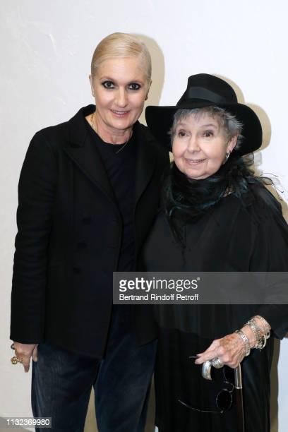 Stylist Maria Grazia Chiuri and journalist Robin Morgan pose after the Christian Dior show as part of the Paris Fashion Week Womenswear Fall/Winter...