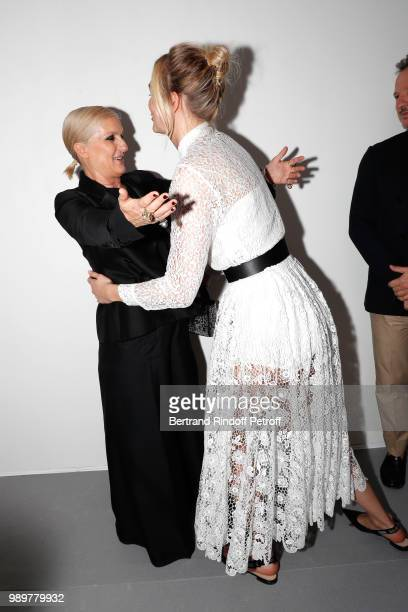 Stylist Maria Grazia Chiuri and Karlie Kloss pose after the Christian Dior Haute Couture Fall Winter 2018/2019 show as part of Paris Fashion Week on...