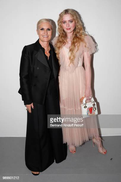 Stylist Maria Grazia Chiuri and Kathryn Newton pose after the Christian Dior Haute Couture Fall Winter 2018/2019 show as part of Paris Fashion Week...