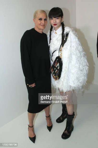 Stylist Maria Grazia Chiuri and Kozue Akimoto pose after the Dior Haute Couture Spring/Summer 2020 show as part of Paris Fashion Week on January 20,...