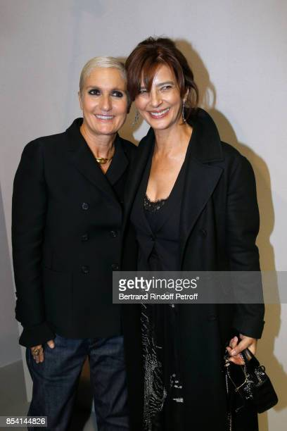 Stylist Maria Grazia Chiuri and Laura Morante pose backstage after the Christian Dior show as part of the Paris Fashion Week Womenswear Spring/Summer...