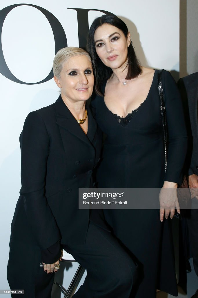 Stylist Maria Grazia Chiuri and Monica bellucci pose after the Christian Dior Haute Couture Spring Summer 2018 show as part of Paris Fashion Week on January 22, 2018 in Paris, France.
