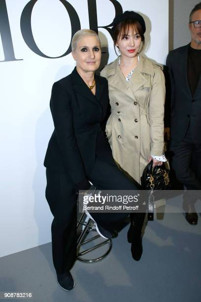 Stylist Maria Grazia Chiuri and Song Hyekyo pose after the Christian Dior Haute Couture Spring Summer 2018 show as part of Paris Fashion Week on...