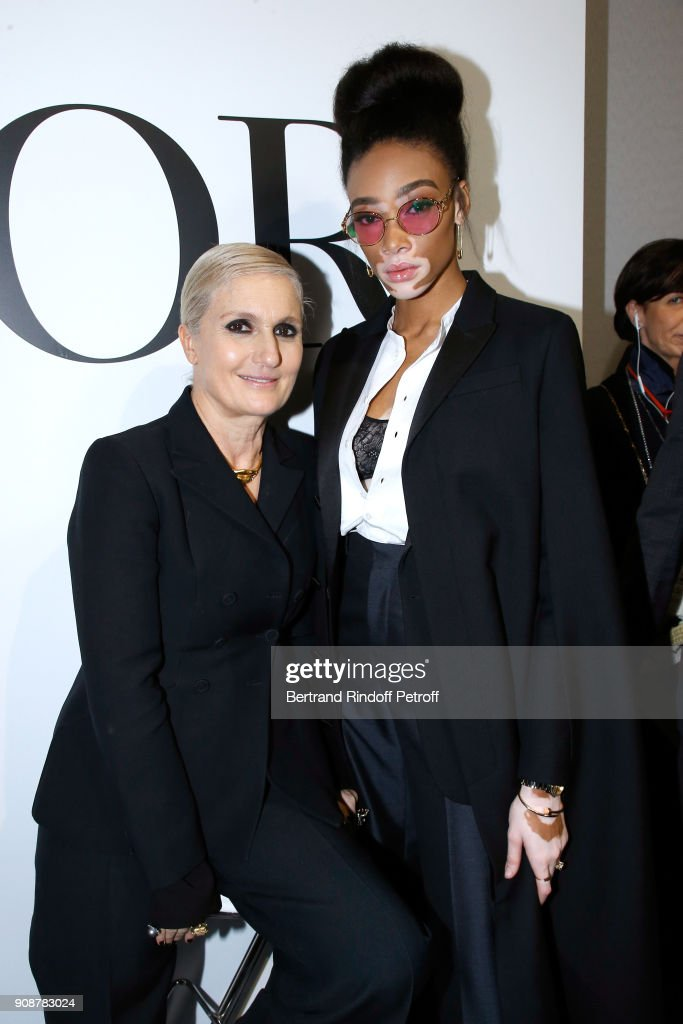 Stylist Maria Grazia Chiuri and Winnie Harlow pose after the Christian Dior Haute Couture Spring Summer 2018 show as part of Paris Fashion Week on January 22, 2018 in Paris, France.