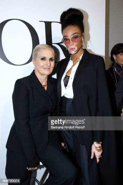 Stylist Maria Grazia Chiuri and Winnie Harlow pose after the Christian Dior Haute Couture Spring Summer 2018 show as part of Paris Fashion Week on...
