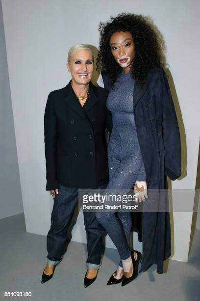 Stylist Maria Grazia Chiuri and Winnie Harlow pose backstage after the Christian Dior show as part of the Paris Fashion Week Womenswear Spring/Summer...