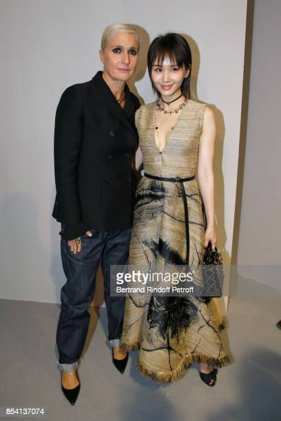 Stylist Maria Grazia Chiuri and Ziwen Wang pose backstage after the Christian Dior show as part of the Paris Fashion Week Womenswear Spring/Summer...