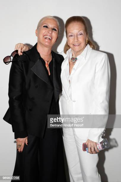 Stylist Maria Grazia Chiuri Doris Brynner pose after the Christian Dior Haute Couture Fall Winter 2018/2019 show as part of Paris Fashion Week on...