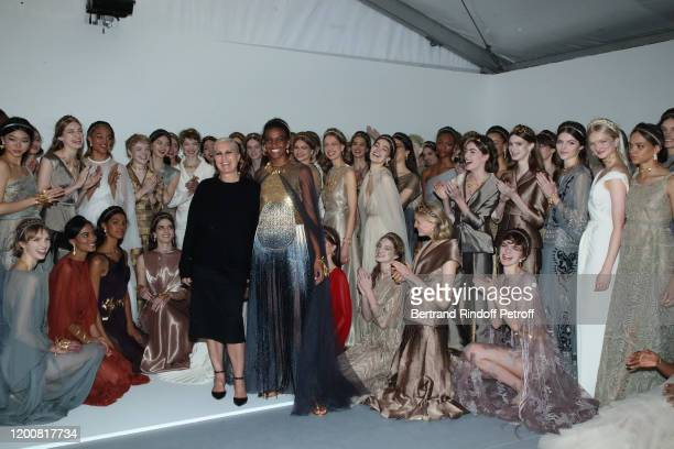Stylist Maria Grazia Chiuri, model Ana Barbosa and models pose after the Dior Haute Couture Spring/Summer 2020 show as part of Paris Fashion Week on...