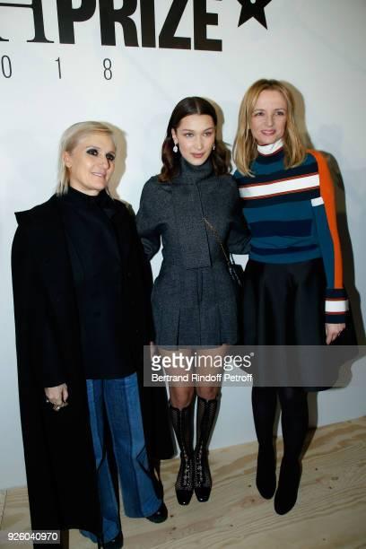 Stylist Maria Grazia Chiuri model Bella Hadid and Louis Vuitton's executive vice president Delphine Arnault attend the LVMH Prize 2018 Designers...