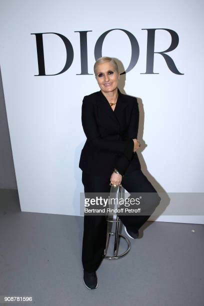 Stylist Maria Grazia Chiuri poses after the Christian Dior Haute Couture Spring Summer 2018 show as part of Paris Fashion Week on January 22 2018 in...