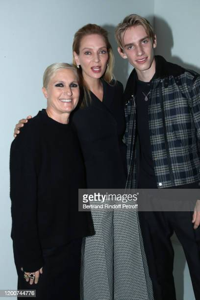 Stylist Maria Grazia Chiuri Uma Thurman and her son Levon Roan ThurmanHawke pose after the Dior Haute Couture Spring/Summer 2020 show as part of...
