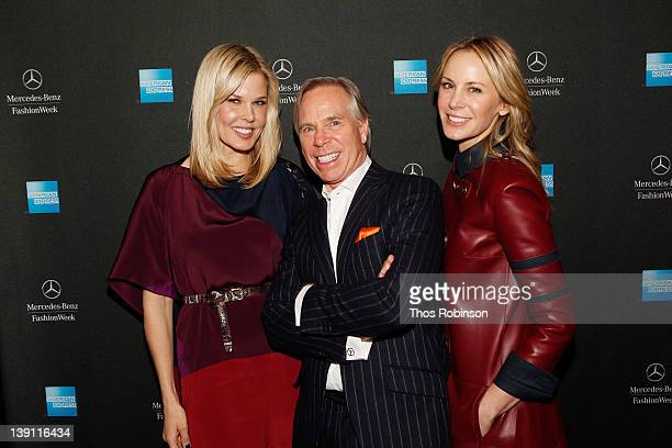 Stylist Mary Alice Stephenson and designers Tommy Hilfiger and Dee Ocleppo attend the American Express CardmemberOnly Show with Tommy Hilfiger...