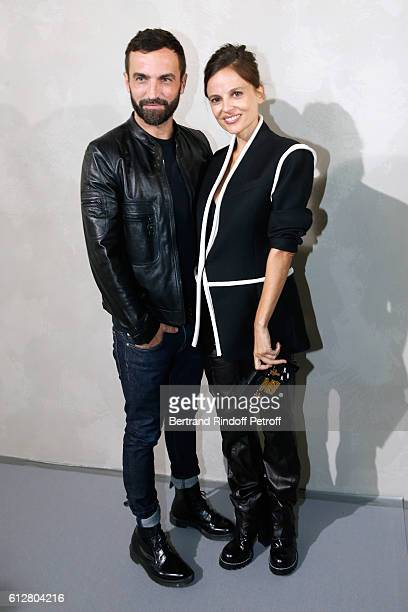 Stylist Nicolas Ghesquiere and actress Elena Anaya pose after the Louis Vuitton show as part of the Paris Fashion Week Womenswear Spring/Summer 2017...
