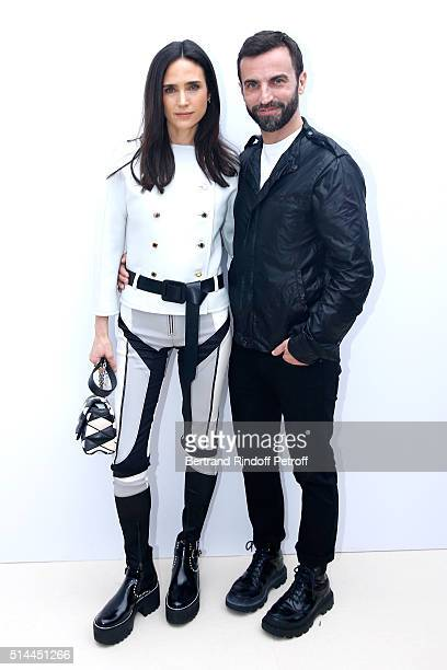 Stylist Nicolas Ghesquiere and Actress Jennifer Connelly pose backstage after the Louis Vuitton show as part of the Paris Fashion Week Womenswear...