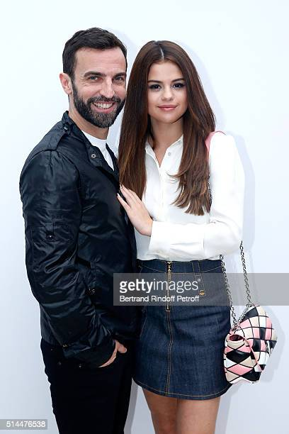 Stylist Nicolas Ghesquiere and Actress Selena Gomez pose backstage after the Louis Vuitton show as part of the Paris Fashion Week Womenswear...