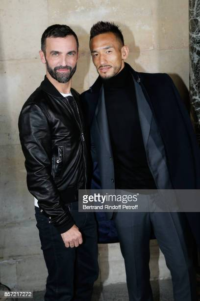 Stylist Nicolas Ghesquiere and Hidetoshi Nakata pose after the Louis Vuitton show as part of the Paris Fashion Week Womenswear Spring/Summer 2018 on...
