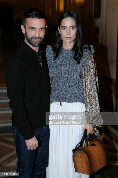 Stylist Nicolas Ghesquiere and Jennifer Connelly pose after the Louis Vuitton show as part of the Paris Fashion Week Womenswear Fall/Winter 2018/2019...