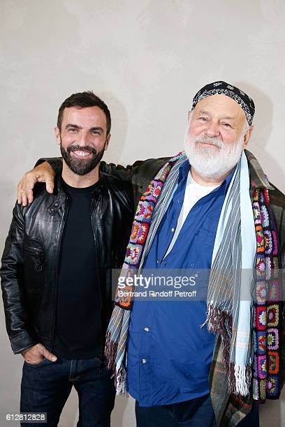 Stylist Nicolas Ghesquiere and Photographer Bruce Weber pose after the Louis Vuitton show as part of the Paris Fashion Week Womenswear Spring/Summer...