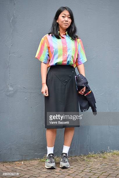 Stylist Noey Park poses before the MSGM show during the Milan Fashion Week Spring/Summer 16 on September 27 2015 in Milan Italy