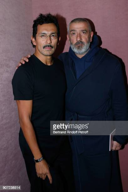Stylist of Berluti men Haider Ackermann and director JeanPierre Blanc pose after the Berluti Menswear Fall/Winter 20182019 show as part of Paris...