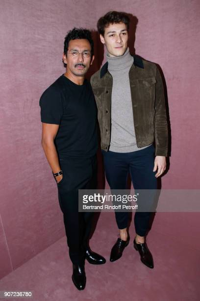 Stylist of Berluti men Haider Ackermann and Star Dancer Hugo Marchand pose after the Berluti Menswear Fall/Winter 20182019 show as part of Paris...