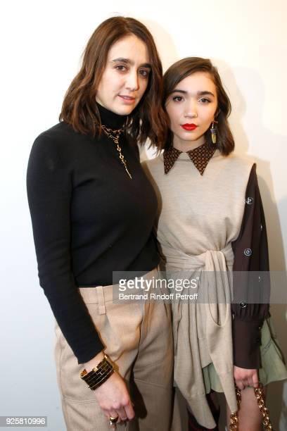 Stylist of Chloe Natacha RamsayLevi and Rowan Blanchard pose after the Chloe show as part of the Paris Fashion Week Womenswear Fall/Winter 2018/2019...
