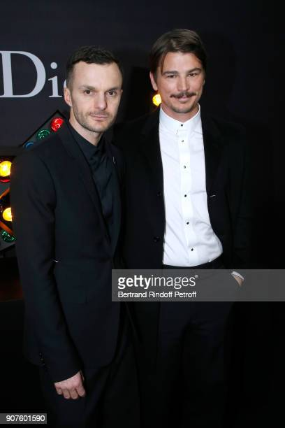 Stylist of Dior Men Kris Van Assche and actor Josh Hartnett pose after the Dior Homme Menswear Fall/Winter 20182019 show as part of Paris Fashion...