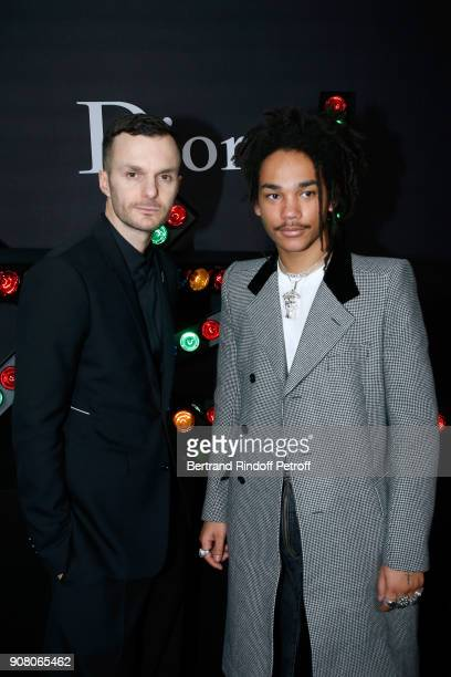 Stylist of Dior Men Kris Van Assche and actor Luka Sabbat pose after the Dior Homme Menswear Fall/Winter 20182019 show as part of Paris Fashion Week...