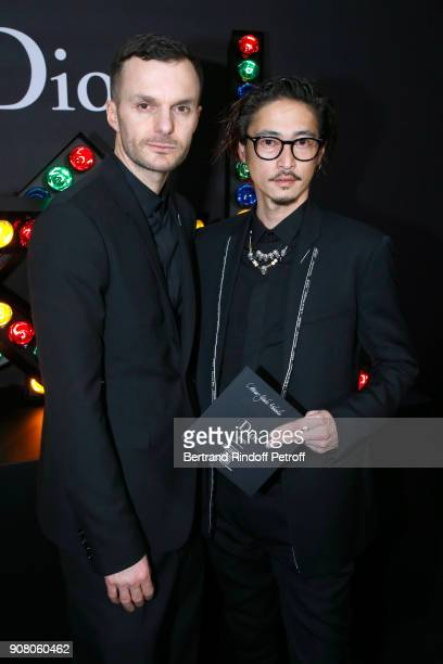 Stylist of Dior Men Kris Van Assche and actor Yosuke Kubozuka pose after the Dior Homme Menswear Fall/Winter 20182019 show as part of Paris Fashion...