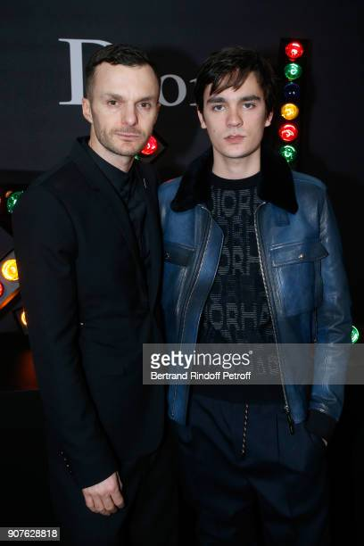 Stylist of Dior Men Kris Van Assche and AlainFabien Delon pose after the Dior Homme Menswear Fall/Winter 20182019 show as part of Paris Fashion Week...