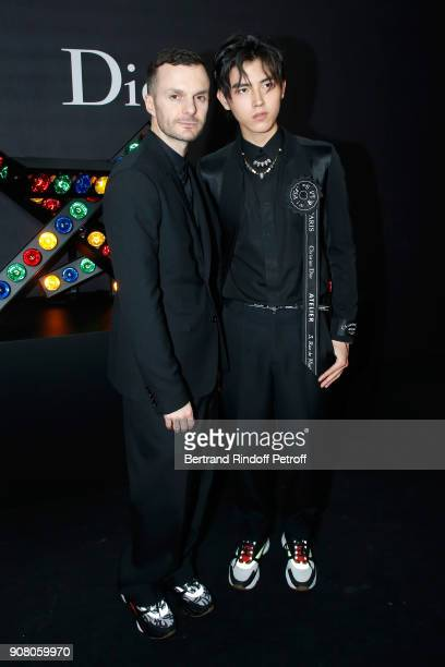 Stylist of Dior Men Kris Van Assche and Arthur Chen pose after the Dior Homme Menswear Fall/Winter 20182019 show as part of Paris Fashion Week on...