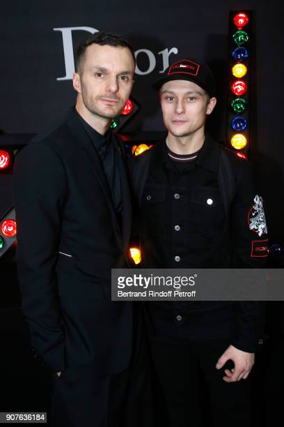 Stylist of Dior Men Kris Van Assche and Rod Paradot pose after the Dior Homme Menswear Fall/Winter 20182019 show as part of Paris Fashion Week on...