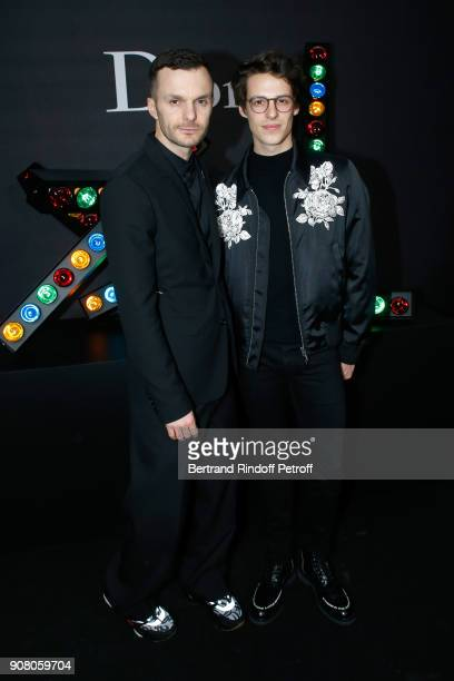 Stylist of Dior Men Kris Van Assche and Star Dancer Germain Louvet pose after the Dior Homme Menswear Fall/Winter 20182019 show as part of Paris...