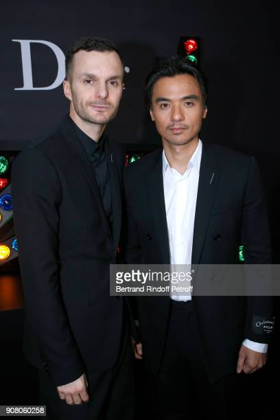 Stylist of Dior Men Kris Van Assche and Stephen Gin Fung pose after the Dior Homme Menswear Fall/Winter 20182019 show as part of Paris Fashion Week...
