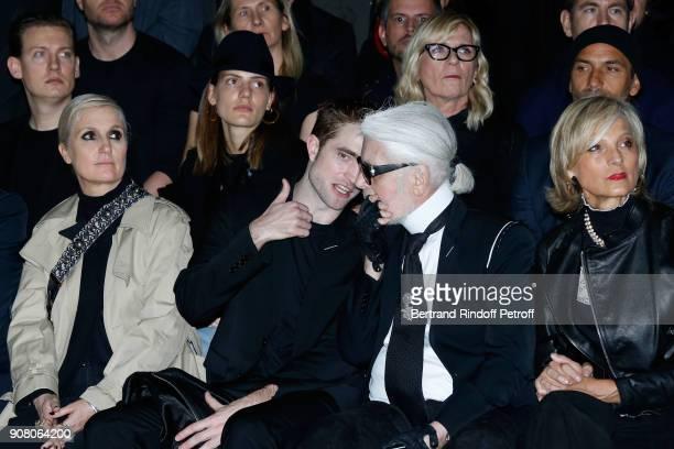 Stylist of Dior Woman Maria Grazia Chiuri Robert Pattinson Karl Lagerfeld and Helene MercierArnault attend the Dior Homme Menswear Fall/Winter...