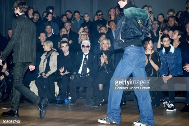 Stylist of Dior Woman Maria Grazia Chiuri Robert Pattinson Karl Lagerfeld Helene MercierArnault Natasha Andrews and Pierre Niney attend the Dior...