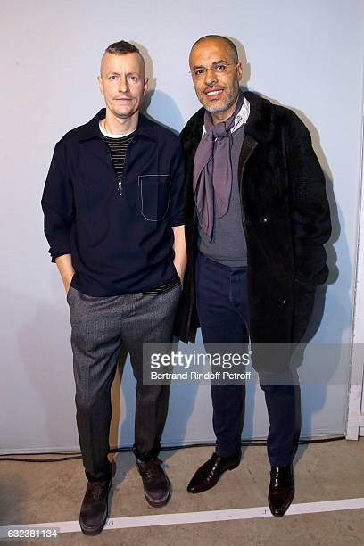 Stylist of 'Lanvin Men', Lucas Ossendrijver and galerist Kamel Mennour attend the Lanvin Menswear Fall/Winter 2017-2018 show as part of Paris Fashion...
