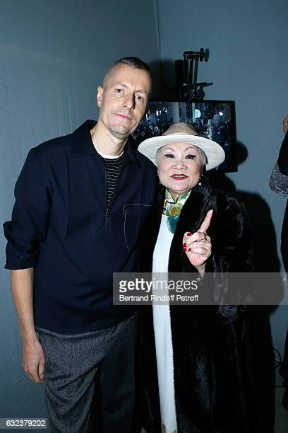 Stylist of 'Lanvin Men', Lucas Ossendrijver and Owner of Lanvin Shaw Lan Wang attend the Lanvin Menswear Fall/Winter 2017-2018 show as part of Paris...