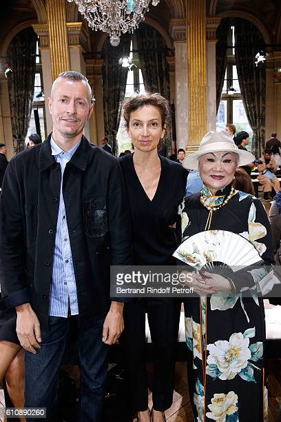 Stylist of 'Lanvin Men' Lucas Ossendrijver French Minister of Culture and Communication Audrey Azoulay and Owner of Lanvin Shaw Lan Wang attend the...
