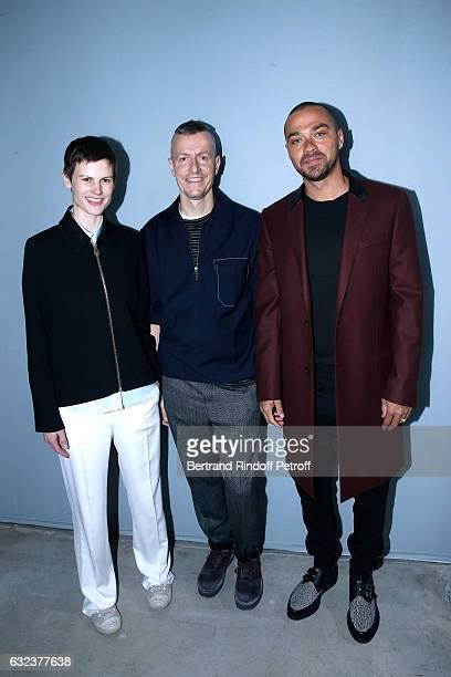 Stylist of 'Lanvin Men', Lucas Ossendrijver standing between Model Saskia de Brauw and actor Jesse Williams attend the Lanvin Menswear Fall/Winter...